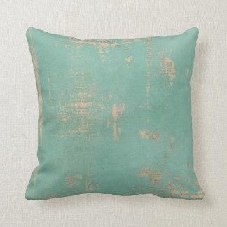 Bluish Green Painted Vintage News Throw Pillow