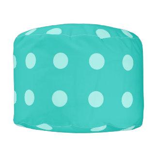 Bluish Green Polka-dot Pouf