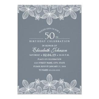 Bluish Grey 50th Birthday Party Creative Lace Card