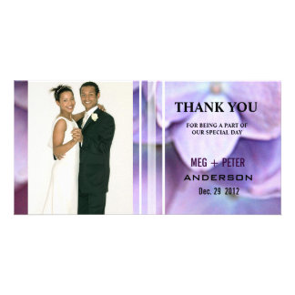Bluish Purple Hydrangea Wedding Photo Thank You Card