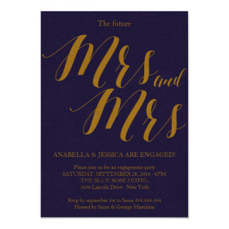 Bluish | Rustic Chic Mrs and Mrs Engagement Party Card