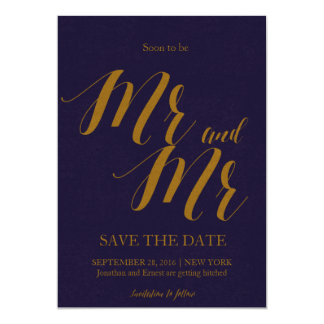 "Bluish | ""Soon to be Mr and Mr"" Save the date Card"