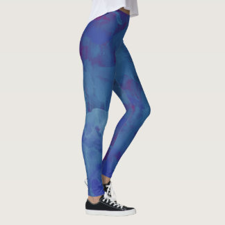 bluish watercolor, stylish abstract blue leggings