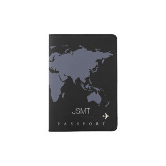 bluish world map, modern travel passport holder