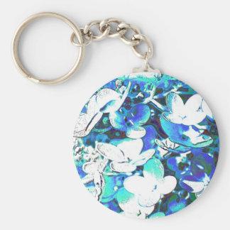 Blümchen en azul llavero redondo tipo pin
