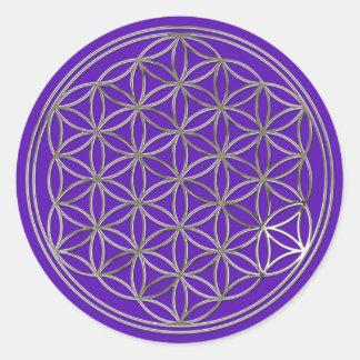 Blume des Lebens Flower Of Life silver violet Runder Aufkleber