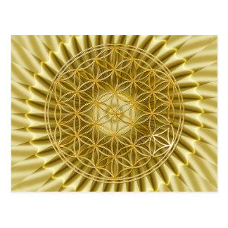 Blume des Lebens klein gold shine Postkarte