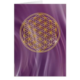 Blume des Lebens klein violet waves Karten