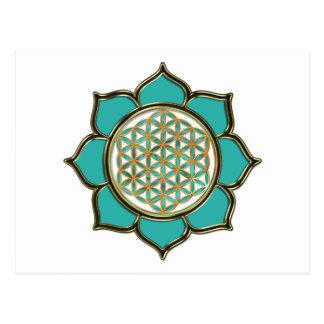 Blume des Lebens Lotus - türkis transparent Postkarte