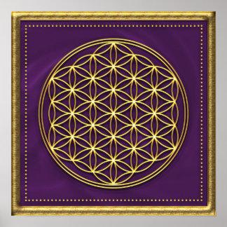 Blume des Lebens - violett gold Posterdruck