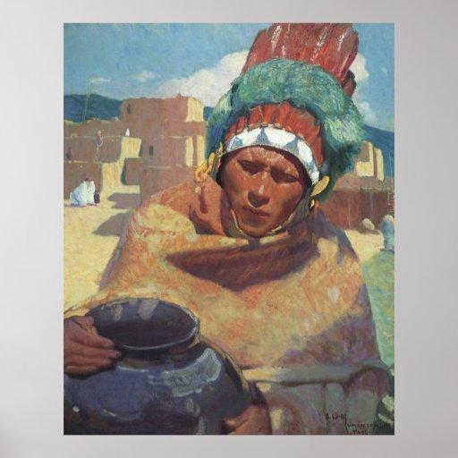 Blumenschein, Taos Native American Indian Portrait Poster