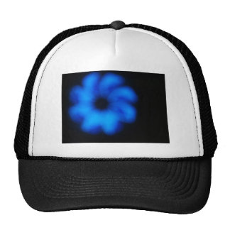 Blurred and defocused image of an abstract blue sh trucker hat