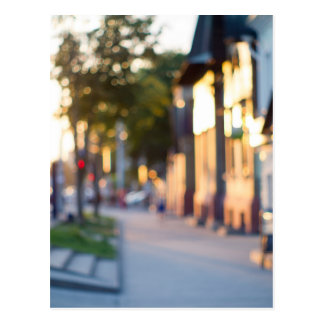 Blurred and out of focus image of streets postcard