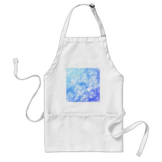 Blurred bubbles over blue adult apron