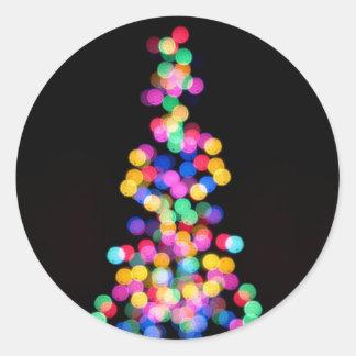 Blurred Christmas Lights Classic Round Sticker