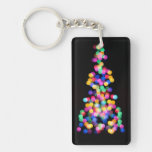 Blurred Christmas Lights Double-Sided Rectangular Acrylic Keychain
