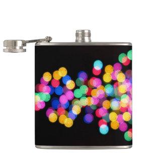 Blurred Christmas Lights Hip Flask