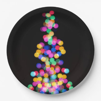 Blurred Christmas Lights Paper Plate