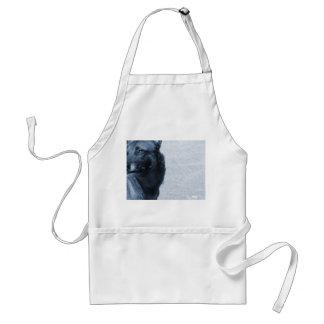 blurred dog looking left blue half adult apron