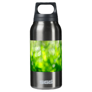 Blurred green background insulated water bottle