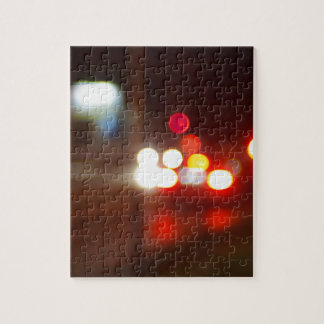 Blurred image of light from the glare of headlight jigsaw puzzle