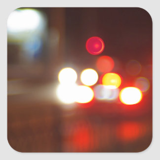 Blurred image of light from the glare of headlight square sticker