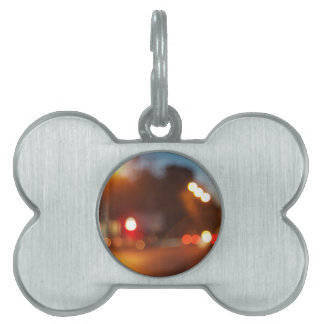 Blurred lights of cars pet tags