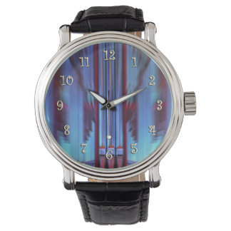 Blurred organ pipes with numbers wrist watch
