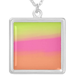 Blurred Rainbow Square Pendant Necklace