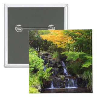 Blurred Rock Waterfall, Maple Green & Orange Trees Button