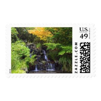 Blurred Rock Waterfall, Maple Green & Orange Trees Postage Stamp