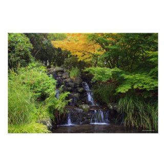 Blurred Rock Waterfall, Maple Green & Orange Trees Poster