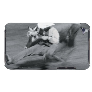 Blurred shot of cowboy wrestling steer barely there iPod cases
