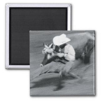 Blurred shot of cowboy wrestling steer refrigerator magnets