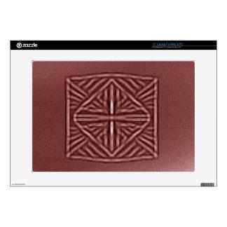 blurred symbol red laptop skins