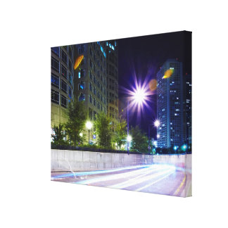 Blurred Traffic at Night Stretched Canvas Prints