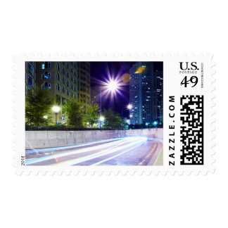 Blurred Traffic at Night Stamps
