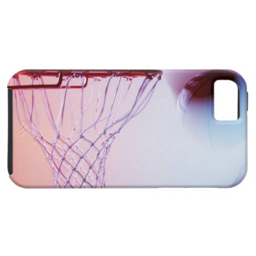 Blurred view of basketball going into hoop iPhone 5 cover