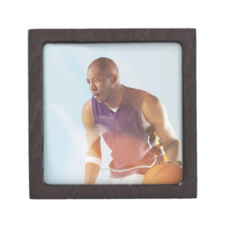 Blurred view of basketball player dribbling 2 premium gift boxes