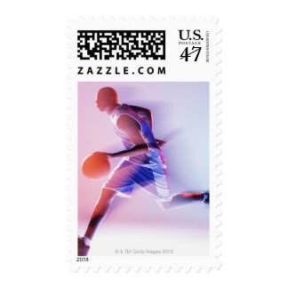 Blurred view of basketball player dribbling postage stamp