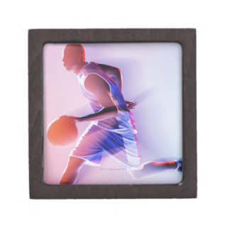 Blurred view of basketball player dribbling premium jewelry boxes