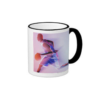 Blurred view of basketball player dribbling ringer coffee mug