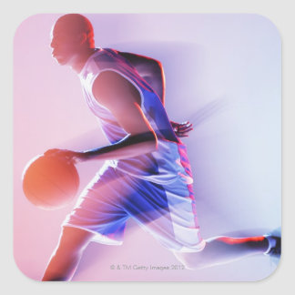 Blurred view of basketball player dribbling square sticker
