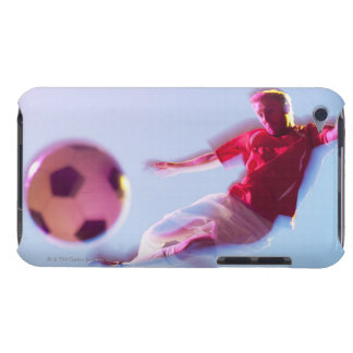 Blurred view of soccer player kicking ball barely there iPod cover