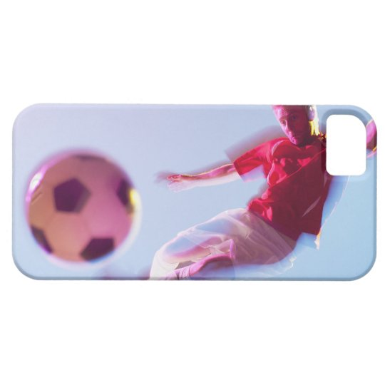 Blurred view of soccer player kicking ball iPhone SE/5/5s case