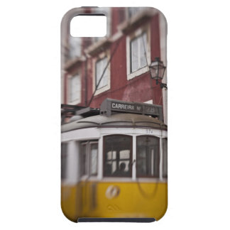 Blurred view of streetcar on city street iPhone SE/5/5s case