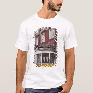 Blurred view of streetcar on city street T-Shirt