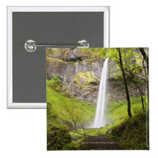Blurred Waterfall around lush Greenery in Oregon Pinback Button
