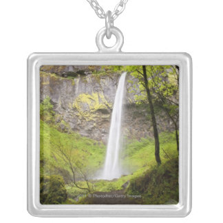 Blurred Waterfall around lush Greenery in Oregon Silver Plated Necklace