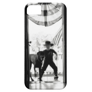 Blurred young boy and dog on porch iPhone SE/5/5s case